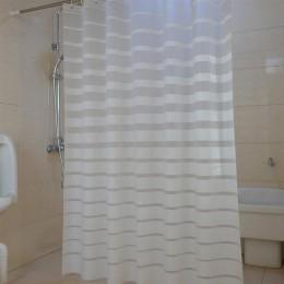 Plastikowe zasłony prysznicowe PEVA z białymi paskami zasłonka do kąpieli na domowy hotel łazienka wodoodporna, odporna na pleśń