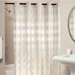 Eleganckie kółko solidna zasłona prysznicowa tkanina poliestrowa gruba wodoodporna zasłona wanny forma prosta łazienka zestaw pr