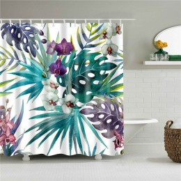 Afrykańskie liście drukuje wanna zasłony prysznicowe wodoodporny ekran do łazienki dekoracja wnętrz tkanina poliestrowa zmywalna