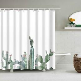 Tropical Cactus zasłona prysznicowa kurtyna kąpielowa z tkaniny poliestrowej na dekoracje łazienkowe wielkoformatowe zasłony pry
