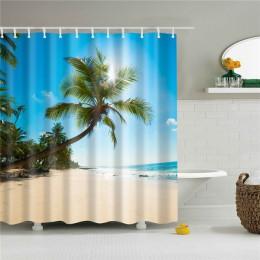 Wysokiej jakości muszla plażowa zasłony prysznicowe z nadrukiem zasłonka do kąpieli wodoodporne produkty wystrój łazienki z hacz