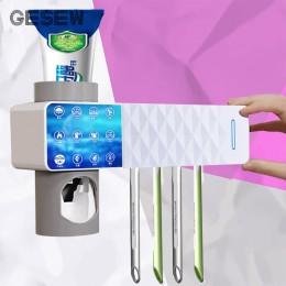 GESEW 3 w 1 UV uchwyt na szczoteczki do zębów sterylizator automatyczna pasta do zębów dozownik do wc akcesoria łazienkowe do do
