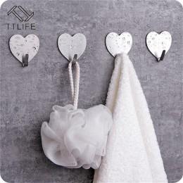 TTLIFE 10 sztuk kształt serca ze stali nierdzewnej naklejane haczyki do paznokci-bez szwu kreatywny hak do drzwi śliczne dekorac
