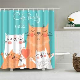 Kot kreskówkowy tkanina poliestrowa z nadrukiem prysznic zasłona do łazienki Nordic wodoodporna zasłonka do kąpieli zasłony Home