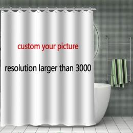 11.11 gorąca sprzedaż wydrukuj swój wzór, niestandardowa bambusowa zasłona prysznicowa kurtyna kąpielowa z tkaniny poliestrowej