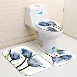 Kolorowe tulipan kwiaty lotosu drzewa zasłona prysznicowa zestawy antypoślizgowe dywaniki pokrowiec na klapę sedesu i maty do ką