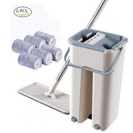 Magiczne czyszczenie mopów wolna ręka Mop z wiaderkiem Drop Shipping podłogi ściśnij płaski Mop z wodą strona główna podłoga w k