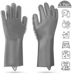1 para rękawiczek kuchennych silikonowe rękawice do sprzątania magiczna silikonowa rękawica do mycia naczyń do szorowania domowe