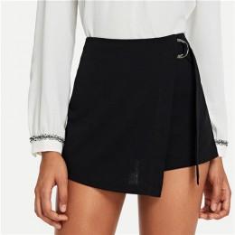 SHEIN czarny elegancki urząd Lady Wrap solidny węzeł Zipper średnio wysoka talia Fly jednolite spodenki 2018 lato jesień Highstr