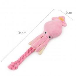 Śliczna kałamarnica zabawka dla psa ośmiornica śliczna BB pluszowe zwierzę domowe szczeniak zabawki sznurowe różowe żuć piskliwe