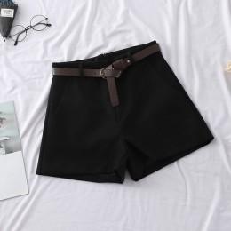 HELIAR 2020 wiosna jesień kobiety szerokie nogawki wełniane szorty odzież wierzchnia dorywczo wysokiej talii krótkie z szarfami