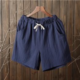 Szorty na lato damskie spodenki z bawełny i lnu spodnie feminino damskie elastyczne Wasit Home luźne wygodne szorty plus rozmiar