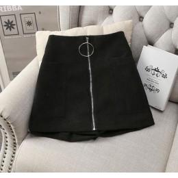 MUMUZI grube mieszanki bawełny krótkie damskie czarne spodnie z szerokimi nogawkami wysokiej talii zamek błyskawiczny z przodu k