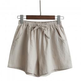 2020 spodenki z bawełny i lnu damskie szorty na lato spodnie damskie Feminino wysokie elastyczne Wasit Home luźne spodenki z kie