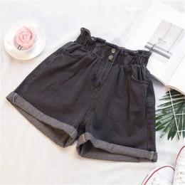 Plus rozmiar letnie czarne damskie spodenki jeansowe duże rozmiary 5Xl Harem wzburzyć białe szorty z wysokim stanem jeansy z ela