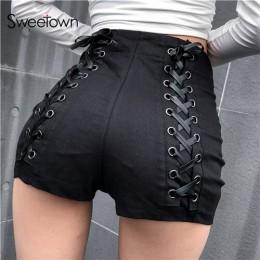 Sweetown czarne szczupłe gotyckie spodenki z wysokim stanem damskie gorące lato 2019 Streetwear Casual Punk Style Hip criss-cros