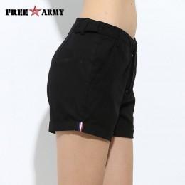 FreeArmy markowe szorty damskie letnie dwa wzory kobiece bawełniane spodenki codzienne damskie zwykłe spodenki jeansowe hafty kr