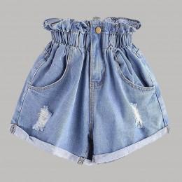 CHAONAN spodenki jeansowe o wysokiej talii spodnie kwiatowe modne spodenki jeansowe na co dzień szczupłe letnie spodnie typu Cas