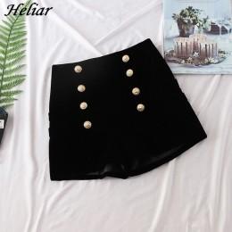 HELIAR wełniane modne aksamitne szorty damskie czarne guziki w stylu casual, na zamek błyskawiczny Fly krótkie jesienne Femme el