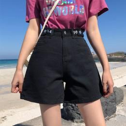 Vintage wysokiej talii niebieski szeroki nogi kobiece szorty dżinsowe damskie spodenki jeansowe klasyczne w stylu Casual, letnia
