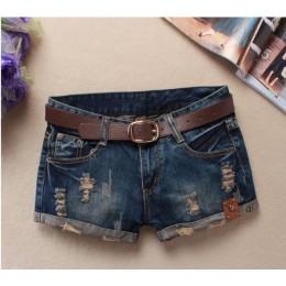 Jesienne spodenki jeansowe dla kobiet Sexy mini szorty damskie nitowe otwory jeansowe spodenki z niską talią bez paska zgrywanie