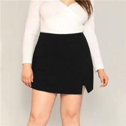 SHEIN czarne swobodne rozcięcie szczegółów kobiet szorty w dużych rozmiarach spódnice 2019 lato Zipper powrót spodenki z wyśrodk
