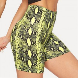 Seksowne damskie szorty na lato nowy nadruk węża spodenki z wysokim stanem w pasie krótkie spodnie damskie spodnie szorty Mujer