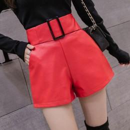 Koreański PU Faux skórzane szorty kobiety jesienno-zimowa wysoka talia szerokie nogawki krótkie damskie Plus rozmiar Sexy czarne