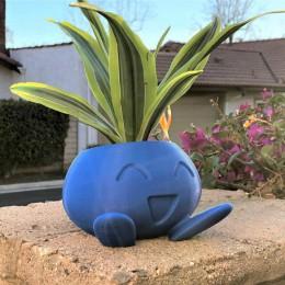 Ozdobna elegancka donica do roślin kwiatów traw niebieska w kształcie Oddish pokemon zabawna modna