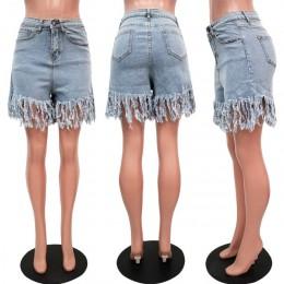 Plus rozmiar frędzle dorywczo wysokiej talii spodenki jeansowe damskie modne niebieskie wysoka talia, moda uliczna Club Party kr