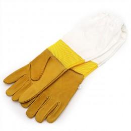 Para ochronnych rękawice pszczelarskie netto koziej skóry pszczelarstwo wentylowane długie rękawy sprzęt pszczelarski i narzędzi