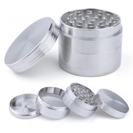 4 warstwy młynek do tytoniu młynek do ziół z uchwytem młyna kolor srebrny młynek do dymu metalowe gadżety kuchenne