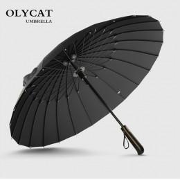 Gorąca sprzedaż marki parasol przeciwdeszczowy mężczyźni jakości 24K mocny wiatroszczelny rama z włókna szklanego drewniany para