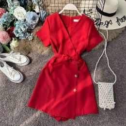 NiceMix 2020 body na lato kobiety Romper z krótkimi rękawami czerwony kombinezon Sexy V-Neck szerokie spodnie pojedyncze piersi