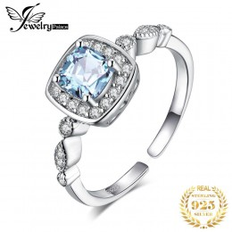 JewelryPalace 1ct prawdziwy niebieski pierścień topaz 925 srebro pierścionki dla kobiet pierścionek zaręczynowy aureola srebro 9