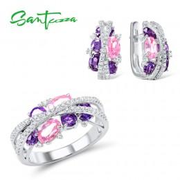 SANTUZZA 925 srebrny komplet biżuterii damskiej musujące fioletowy ametyst kolczyki z różową kwadratową cyrkonią zestaw pierście