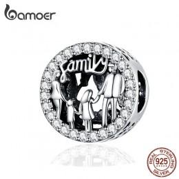 BAMOER rodzina czterech okrągłych metalowych koralików 925 Sterling Silver rodzin urok dla kobiet oryginalna bransoletka srebrna