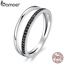 BAMOER oryginalna 925 Sterling Silver dwa kółka czarny wyczyść CZ wieżowych Ring Finger dla kobiet piękna srebrna biżuteria prez