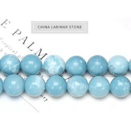 6 8 10 12MM Larimar kamień okrągły luźne koraliki matowy Ocean morze kamień bransoletka naszyjnik do tworzenia biżuterii