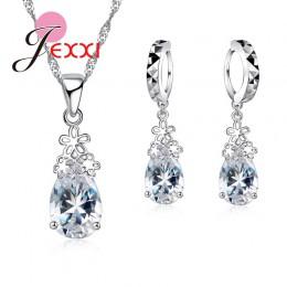 Moda 925 Sterling Silver Water Drop jasny kryształ naszyjnik kolczyki zestaw kobiet kobieta ślub biżuteria zaręczynowa zestaw pr