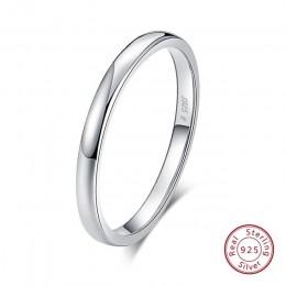 Rinntin 925 srebro proste para pierścień miłośników geometryczne obrączki ślubne Fine Jewelry wygrawerować słowa TSRC1