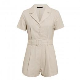 Conmoto przycisk pas krawat lato plusysuits romper kobiety przyczynowe lniane kombinezony plażowe romper biała plaża krótki komb