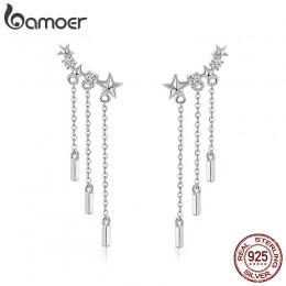 BAMOER oryginalna 925 Sterling długi łańcuszek srebrny gwiazda olśniewający CZ spadek kolczyki dla kobiet modne kolczyki biżuter