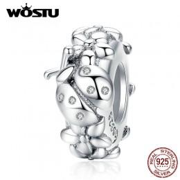 WOSTU 925 srebro biedronka kwiat silikonowy korek koraliki Spacer Charm Fit oryginalna bransoletka wisiorek delikatna biżuteria
