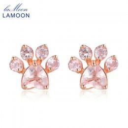 LAMOON łapa kota 925 srebro kolczyki dla kobiet Rose Quartz Stud kolczyk kamień kolczyki sztyfty Fine Jewelry EI040-2