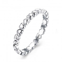 Dainish srebro 925 biżuteria pierścień z sercem wieczna miłość serce Ring Finger biżuteria boże narodzenie i prezent na walentyn