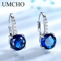 UMCHO prawdziwe 925 srebro klipsy dla kobiet kamień niebo niebieski topaz kobiece kolczyki okrągłe ślubne walentynki biżuteria
