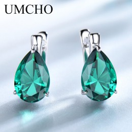 UMCHO luksusowe Nano kamień niebieski Topaz klip kolczyki dla kobiet 925 srebro klip na kolczyki kropla wody biżuterii prezent