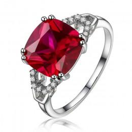 Cellacity klasyczny srebrny pierścionek 925 z kwadratowym rubinem/szmaragd kamień urok kobiety srebrny Jewlery zaręczyny Lady pr