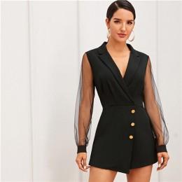 SHEIN czarny na najwyższym poziomie kołnierz siatki z długim rękawem przycisk Wrap wykończenia spódnica Romper kobiety jesień wy
